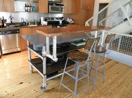 Kitchen Portable Islands Kitchen Diy Portable Island With Steel Pipe And Wood Planks Also