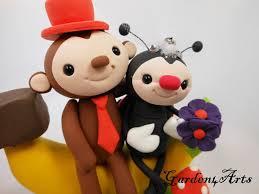 wedding cake topper customized love monkey u0026 ladybug couple with