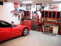 garage design ideas for sedan or sport car traba homes cool garage design ideas with red furniture of cabinet also desk plush stool