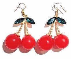 rockabilly earrings cherry earrings kitschy retro rockabilly fruits cherry hook