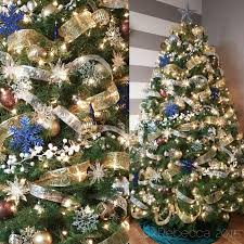 blue and gold christmas tree decorations