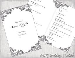 catholic wedding booklet diy catholic wedding program template charcoal gray antique lace