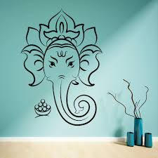 compare prices on yoga wall art online shopping buy low price hindu god ganesha ganesh vinilo adhesivo mural home decoration elephant ganesh wall art decal lotus yoga