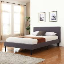 Bed Frame With Wood Legs Classic Yet Modern Bed Frame With Grey Linen Fabric Headboard Is