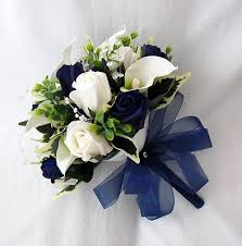 blue lilies artificial wedding flowers bridesmaids posy cala lilies