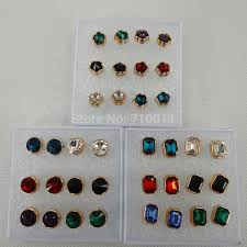 plastic stud earrings free shipping wholesale 6mm colour changing made