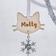 personalised cat wooden christmas snowflake decoration by