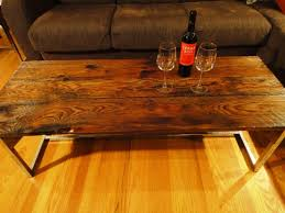 Barn Board Coffee Table Long Barn Board Coffee Table On Reclaimed Chrome Base