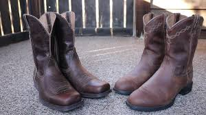 ariat heritage roper vs ariat rambler boot comparison youtube