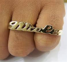 Name Ring Gold Gold Overlay Two Finger Name Rings Personalized Za1 Nikfine