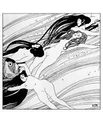 free coloring page created from a gustav klimt drawing