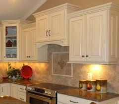 kitchen backsplash ideas with cherry cabinets beige bevel pattern