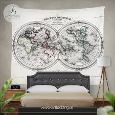 World Map Wall Decor Antique Old Map Wall Tapestry Vintage World Map Wall Hanging Old