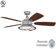 kichler ceiling fans with lights ceiling fans with lights walk out galvanized steel 52 outdoor