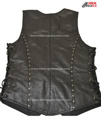 leather motorcycle jacket ladies motorcycle studded riders black soft leather vest bikers