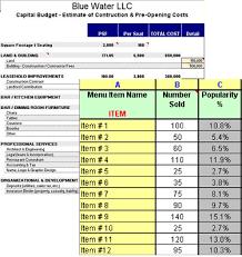 Restaurant Expenses Spreadsheet Restaurant Start Up Costs