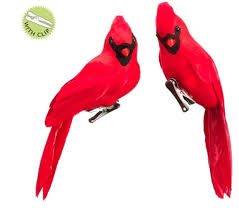 amazon com set of 2 in the birches red cardinal bird clip on