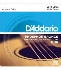 Light Guitar Strings by D U0027addario Ej16 Phosphor Bronze Light 12 53 Acoustic Guitar Strings