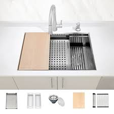 kitchen sink for 30 inch base cabinet zuhne undermount workstation ledge 16 stainless kitchen sink accessories 30 inch left right offset drain