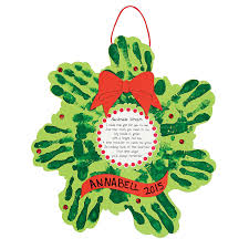 christmas wreath handprint poem craft kit m orientaltrading com