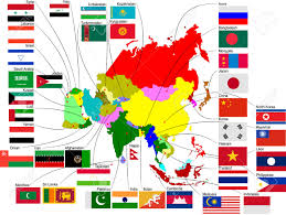 Maps Of Asia by Map Of Asia With Country Flags Royalty Free Cliparts Vectors And
