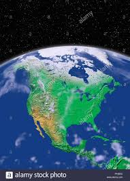 Planet Map Simulated Satellite View Of Part Of The Earth From Space North