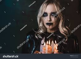 makeup artist halloween beautiful scaring mystical face art stock photo 491520178