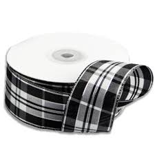 black and white wired ribbon plaid ribbon with wired edge silver accents 10 yards