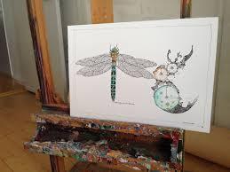 drawings animals botanical dark blue dark green turquoise