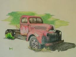 color pencil drawing of an old rusted truck art i like that i