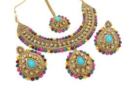 multi coloured necklace images Multi coloured gold 39 neerma 39 polki kundan necklace earring set JPG