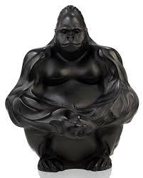 lalique crystal gorilla sculpture figurine black neiman marcus