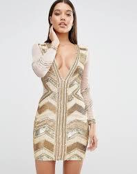 embellished dress plunge premium embellished mini dress by missguided gold