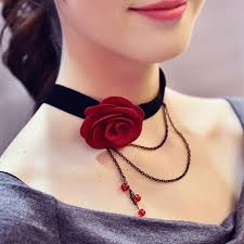 cute choker necklace images Layered chain tassel rose choker necklace in red jpg