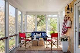 Sunroom Sofa Sunroom With Blue Sofa And Red Chairs Cottage Deck Patio