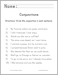 circle the conjunctions worksheet for grade one free to print