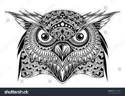 vector hand drawn owl face black stock vector 404776987 shutterstock