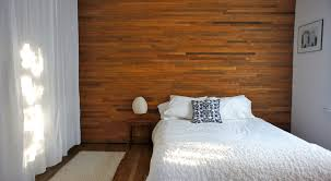 modern wood wall covering with beautiful textile white curtain of