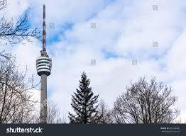 fernsehturm stuttgart stuttgart tv tower fernsehturm monochrome view stock photo