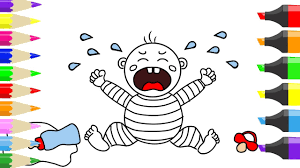 how to draw bad crying baby coloring pages learning colors for