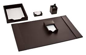 Brown Leather Desk Accessories D3602 Brown Bonded Leather 5 Desk Set