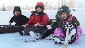 Backyard Hockey Download Four Young Kids In Hockey Gear Sit On Backyard Ice Rink Stock