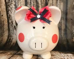 customized piggy bank baby blue piggy bank etsy