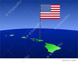 Hawaiian Flag Illustration Of Map Of Hawaii With Flag