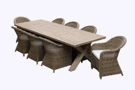 tahitian solid teak 3m outdoor table with plantation rattan