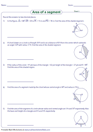 Segment Lengths In Circles Worksheet Answers Area Of Segment Worksheets