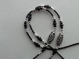 black seed bead necklace images Black seed beads silver filigree beads handmade eyeglass holder jpg