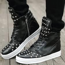 cool fashion punk rock pu leather ankle boots mens stylish high