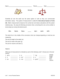 Converting Metric Units Of Length Worksheet Units U0026 Unit Conversions Worksheet