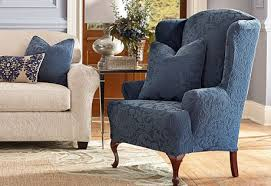 wingback chair slipcovers blue wingback chair slipcovers sure fit stretch pique wing chair